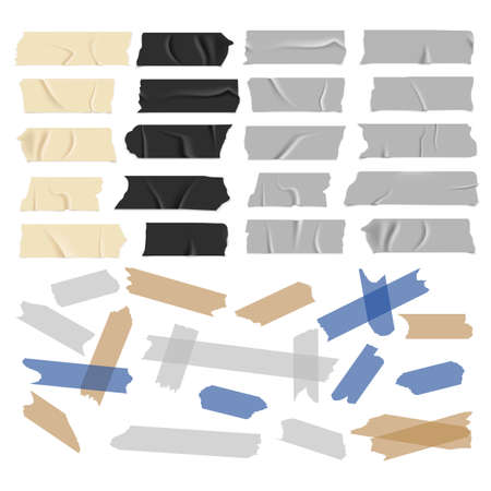 Transparent adhesive tapes. Scotch tape collection. Black white and colored strips with glue, old and black grunge paper sticky pieces, packaging used stickers vector isolated set