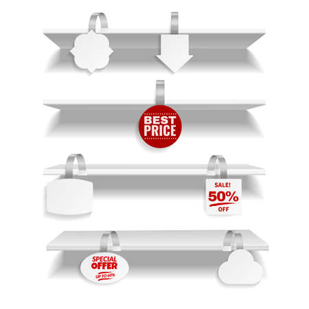 Shelves with wobbler. Realistic discount tags hanging on store rack. 3D advertising promotional label attached with plastic stripe. Vector retail furniture with blank or sale stickers