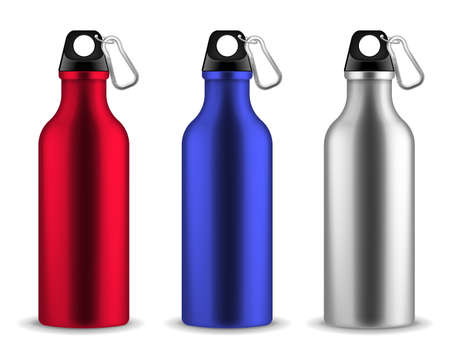 Water metal bottle. Reusable drinking blank bottles with lid and carabiner, drink aluminum fitness flask, sports or tourist realistic stainless tin beverages. Vector 3d isolated set Illustration