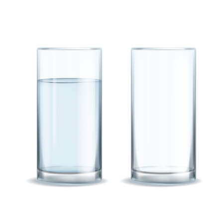 Water glass realistic set. Full and empty of clean mineral healthy pure aqua realistic glasses, beverage in transparent glassware, blank object for drinks. Vector 3d isolated illustration Illustration