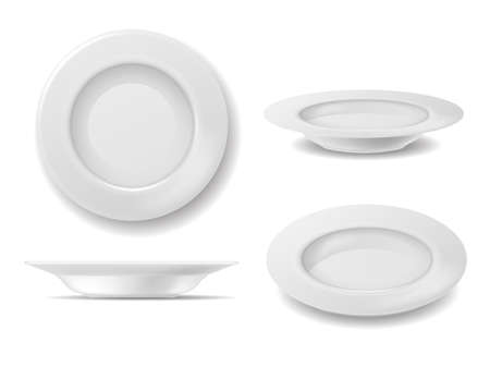 White plate set. Dish empty plates top and side view, realistic clean round bowl, kitchenware for home restaurant or cafe, close up ceramic porcelain. serving meal element vector illustration