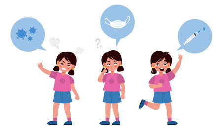 Choice in vaccines favor. Girl in thinking process, covid-19 virus medical masks or vaccination, prevention epidemic, formation of immunity from disease, vector cartoon isolated concept