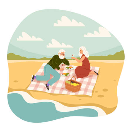 Old people romantic picnic. Elderly man and woman having meal on sea side, couple on beach and drinking wine, characters leisure time, pensioner relationships vector cartoon concept