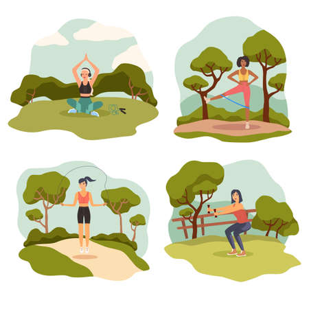 Outdoor sports. Athletic slim female character in sport uniform doing exercises, yoga and pilates in nature, young woman fitness and gymnastics in summer park landscape vector cartoon set
