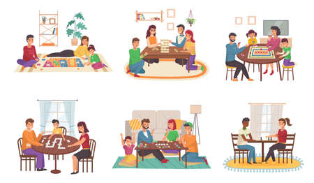 People play board games at home. Happy families play chess and poker, domino and puzzles cartoon scenes, parents and children indoors, collective hobby and activities vector set