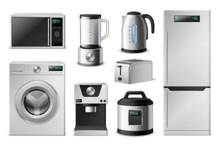 Kitchen appliance. Realistic electronic household equipment, 3D domestic cooking devices. Modern washer and refrigerator, microwave oven or blender. Vector isolated home machines set