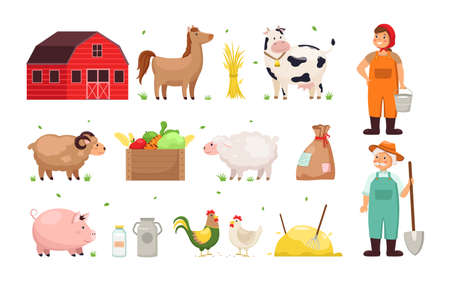 Farm objects. Man and woman farmers, agricultural crops and utensils, funny different domestic animals and birds, vegetables harvest, red wooden shed. Countryside vector cartoon isolated set