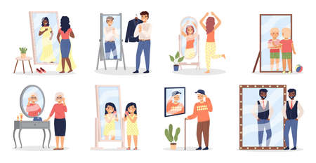 People looking at mirror. Men and women see themselves in reflective surface. Human appearance reflections. Characters choose and try on clothes at home or in fitting room, vector set Illustration
