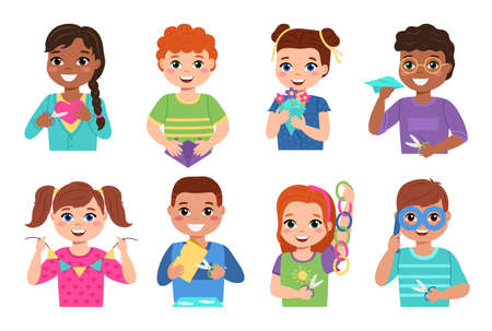 Kids paper craft. Happy creative children cut colored paper, make applications, bend origami and glue flags and chains garlands. Girls and boys with art works, school exhibition vector set Illustration