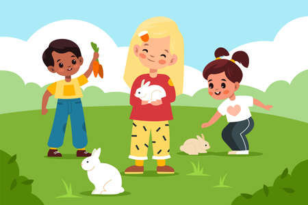 Petting zoo. Children take care rabbits in green clearing, kids play and contact small animals outdoor, boys and girls feed hares with carrots, summer landscape. Vector cartoon concept