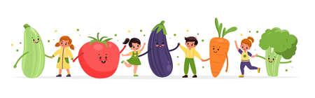 Happy kids with vegetables. Smiling girls and boys dance with big vegetables, children playing with humanized snacks. Healthy vitamin food vector cartoon isolated horizontal concept Vector Illustration