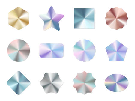 Holographic labels. Round gradient metal certification glitter stickers, shine iridescent circle and square tag, multicolor geometric blank guaranteed badges mockups. Vector isolated set