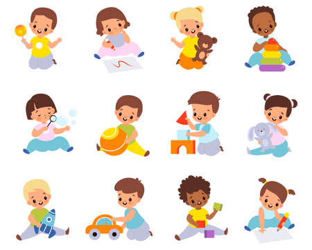 Babies playing with toys. Multiethnic kids hold different items, little boys and girls sitting on floor with car, ball and cubes. Stuffed and educational toy collection vector cartoon set Ilustración de vector
