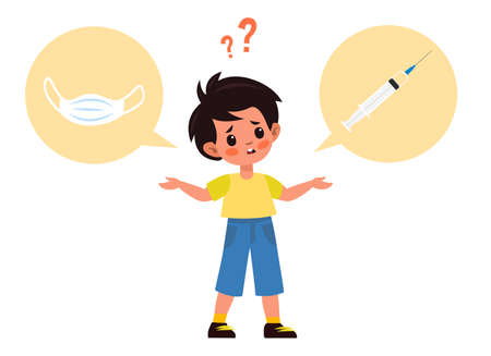 Choose between mask or vaccine. Boy in yellow T-shirt think about vaccines. Better solution medical masks or vaccination