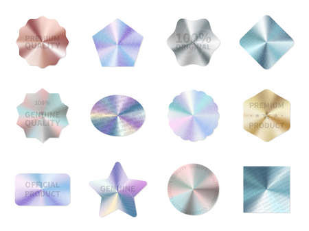 Holographic guarantee. Quality control metal stickers, round square and star geometric shapes, neon original product certificate signs. Multicolor badges or labels vector isolated set Illusztráció