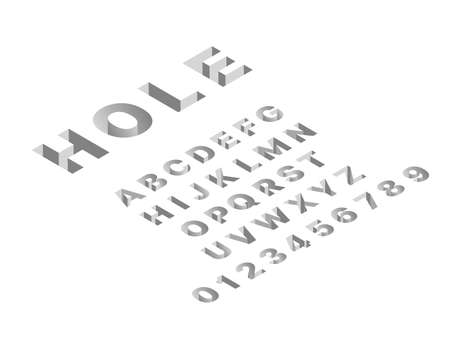 Isometric hole font. 3d latin gray letters and numbers, abc signs techno design, deep shapes english alphabet, dimensional pushing typography, cubic straight block typeset vector set