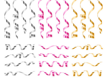 Realistic serpentine ribbons. Bright golden, pink and silver curled tapes, 3d festive metal spirals, holiday sparkle tinsel, birthday wedding or xmas party decor vector isolated set Illusztráció