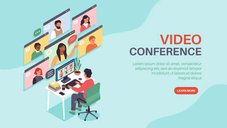 Isometric online conference. Corporate web chat, people group internet communication, man talks remotely with colleagues. Business meeting working team home office vector concept Illusztráció