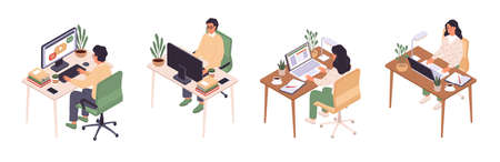 Isometric online education. Man and woman sitting at computer, back and face view, personal workplace, desktop with laptop, distance learning, student internet webinar vector set Illusztráció
