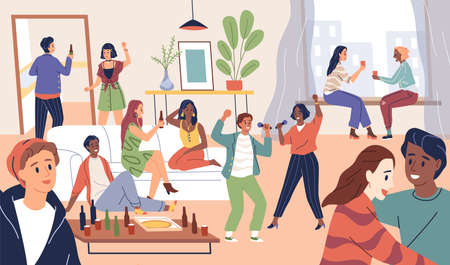 Friends group. Party time in house, happy young people, home celebration. Alcohol drinking, karaoke and dancing, youth hangout, men and women funny company. Vector modern cartoon concept