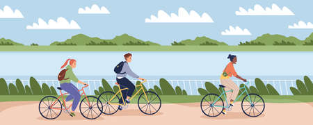 Cyclists people outdoor. Happy young man and women on bike ride in park, bicycles persons drive embankment, healthy leisure lifestyle and eco vehicle, racing sport vector cartoon concept