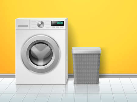 Realistic washing machine. Empty electronic washer, laundry basket in bathroom, domestic device in minimalist interior, front view 3d object, appliances and detergent vector concept Illusztráció
