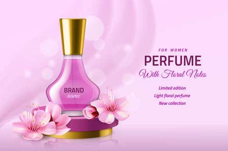 Realistic perfume glass bottle. Women pink luxury sakura essence in elegant vial, delicate floral fragrance, japanese cherry. Cosmetic glamour promotional banner. Vector advertising poster Illusztráció