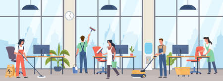 Cleaning premises. People group in uniforms wash office interior with professional industrial washer equipment, janitors team service large rooms with detergents vector cartoon concept Illusztráció