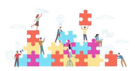 Puzzle teamwork. Little people with big puzzle pieces, colleagues cooperation, working collaboration in common business. Company teambuilding, startup project. Vector cartoon concept