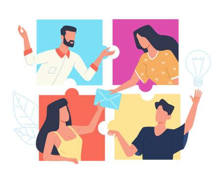 Online connect puzzle. Partnership web technology, people group work via internet, remote teamwork, video chat collaboration, colleagues distance communication vector cartoon concept