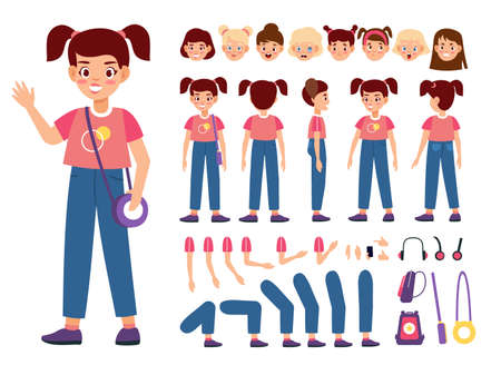 Child constructor. Happy girl with additional body parts and accessories, kid emotions and hairstyles, new poses, easy elements setting, collection for animation vector cartoon isolated set Illusztráció