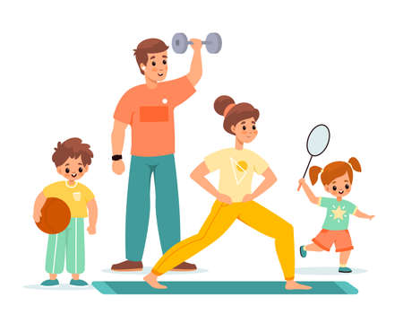 Sport family. Happy children and parents training, gymnastic, badminton and fitness, active leisure, couple and kids. Boy and girl with adults healthy lifestyle vector cartoon concept Illusztráció