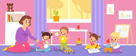 Kindergarten babies. Happy children with teacher in nursery, kids with toys, boys and girls educational game activities. Furniture and toys in play room interior vector cartoon concept