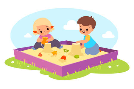 Kids in sandbox. Happy boy and girl play outdoor with sand and toys, children make cakes with plastic molds molds and bucket, babies games on playground. Vector cartoon isolated concept Illusztráció