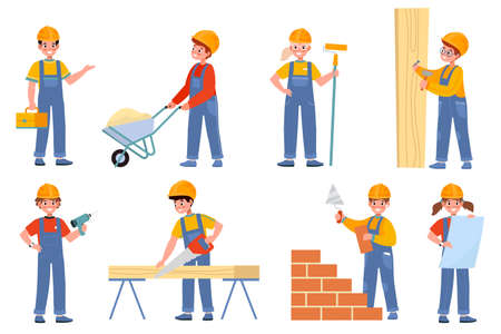 Kids builders. Young engineers in uniform and helmets, children professionals construction site, carpenter, and molar. Teen workers use special tools. Vector cartoon isolated set Illusztráció