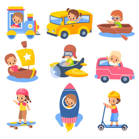 Kids transportation. Children in carriage vehicles, little travellers, young drivers in train and rocket, ship and plane, boys and girls on scooter and skate. Vector cartoon isolated set