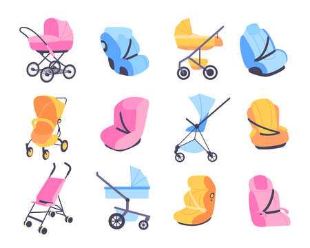 Childish strollers. Different baby buggies and car seats, blue pink and yellow perambulator or booster chair, kids carriages cradles, transformers and universal vector cartoon isolated set