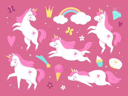 Cute unicorns. Pink beautiful magic pony characters, little girl decorative animals and items, sweets, flowers and rainbow, fairytale adorable horses. Vector cartoon flat isolated set