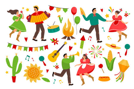 Festa junina. Folklore latin america holiday collection, festive bright colorful items, farmers party decor, music and man and woman dancers with traditional costume vector cartoon set Illusztráció