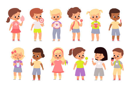 Children eat sweet food. Cute kids with candies, sugar cotton and desserts, boys and girl hold lollipops, doughnut and ice cream, delicious drinks and snacks vector cartoon set Illusztráció