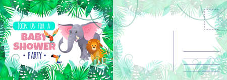 Baby shower party card. Holiday card with cute funny exotic animals and tropical palm leaves, cartoon elephant and lion on letter template childish design invitation vector illustration
