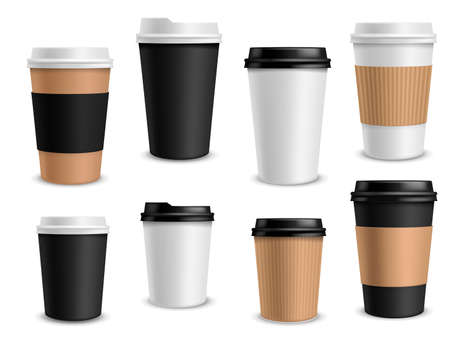 Coffee cups paper. Takeaway realistic cups white, black and brown container for latte espresso or cappuccino drinks, morning aroma beverage in blank package and empty labels vector mockup set Illusztráció