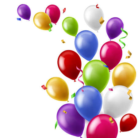 Color balloons background. Colorful flying confetti birthday party decoration. Anniversary celebration card or banner template. Decorative rubber 3D inflated realistic objects. Vector backdrop