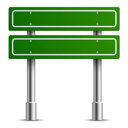 Traffic green sign. Board road text panel, location street way signage template, direction highway city blank realistic signpost. Empty two square boards vector isolated 3d illustration