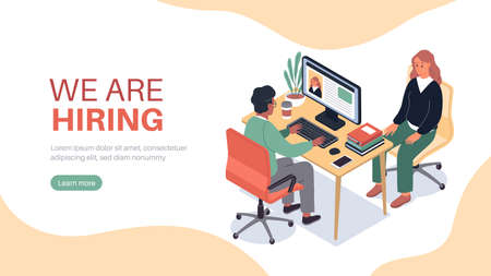 Isometric hr employer interview. Job finding, professional in applicants office, hiring recruitment, man talks woman, recruiter search staff. Lending page template. Vector concept Illusztráció