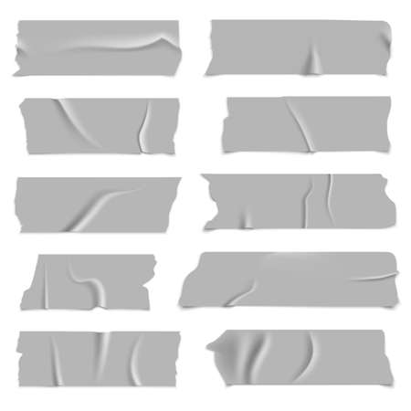 Silver adhesive tapes. Gray metallic colored strips, crumpled glued paper sticky pieces, packaging used stickers with torns, stationery objects, vector realistic isolated set