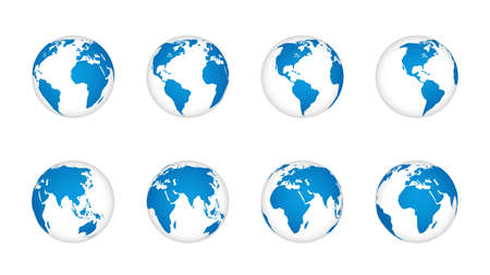 Globe earth 3d. World map realistic globes, blue continents and white oceans. Planet with cartography texture various angle view, geography isolated element vector travel or communication set Illusztráció
