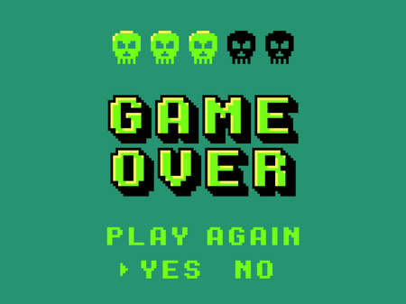 Game over screen. Pixel 8 bit final screensaver, primitive graphics style skulls, retro video games, comic square stylized computer letters, 80s arcade, players end or continue vector concept
