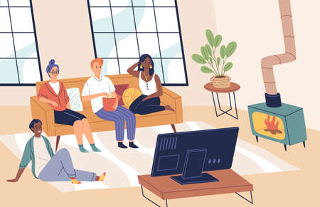 People watch tv. Friends together in living room look movies and eat popcorn, sofa sitting, young men and women group at home. Happy boys and girls indoors pastime. Vector cartoon concept