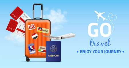 Travel banner. Realistic plastic luggage bag on wheels, two tickets, foreign passport and plane on blue sky, journey and holiday trip poster, flights around world. Vector realistic concept Illusztráció